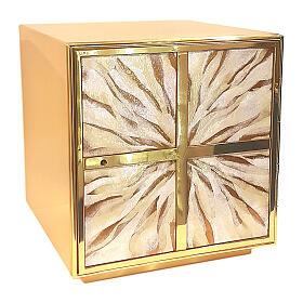 Tabernacolo raggi sfumati smalto bianco ottone dorato s1