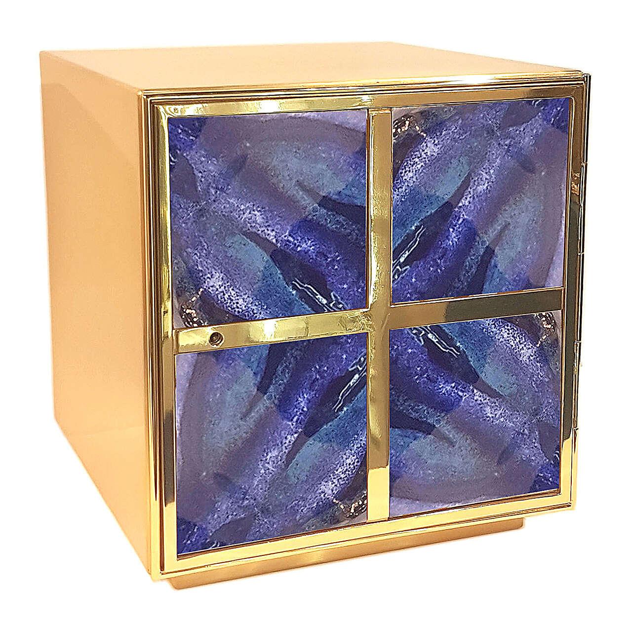 Tabernacolo toni blu smalto a fuoco croce greca ottone dorato 4
