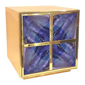 Tabernacolo toni blu smalto a fuoco croce greca ottone dorato s1