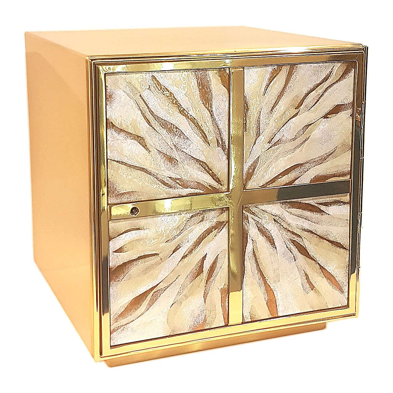 Tabernacle croix grecque émail blanc laiton doré 4