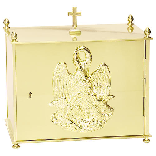 Altar tabernacle in brass plates with Pelican, Molina 1