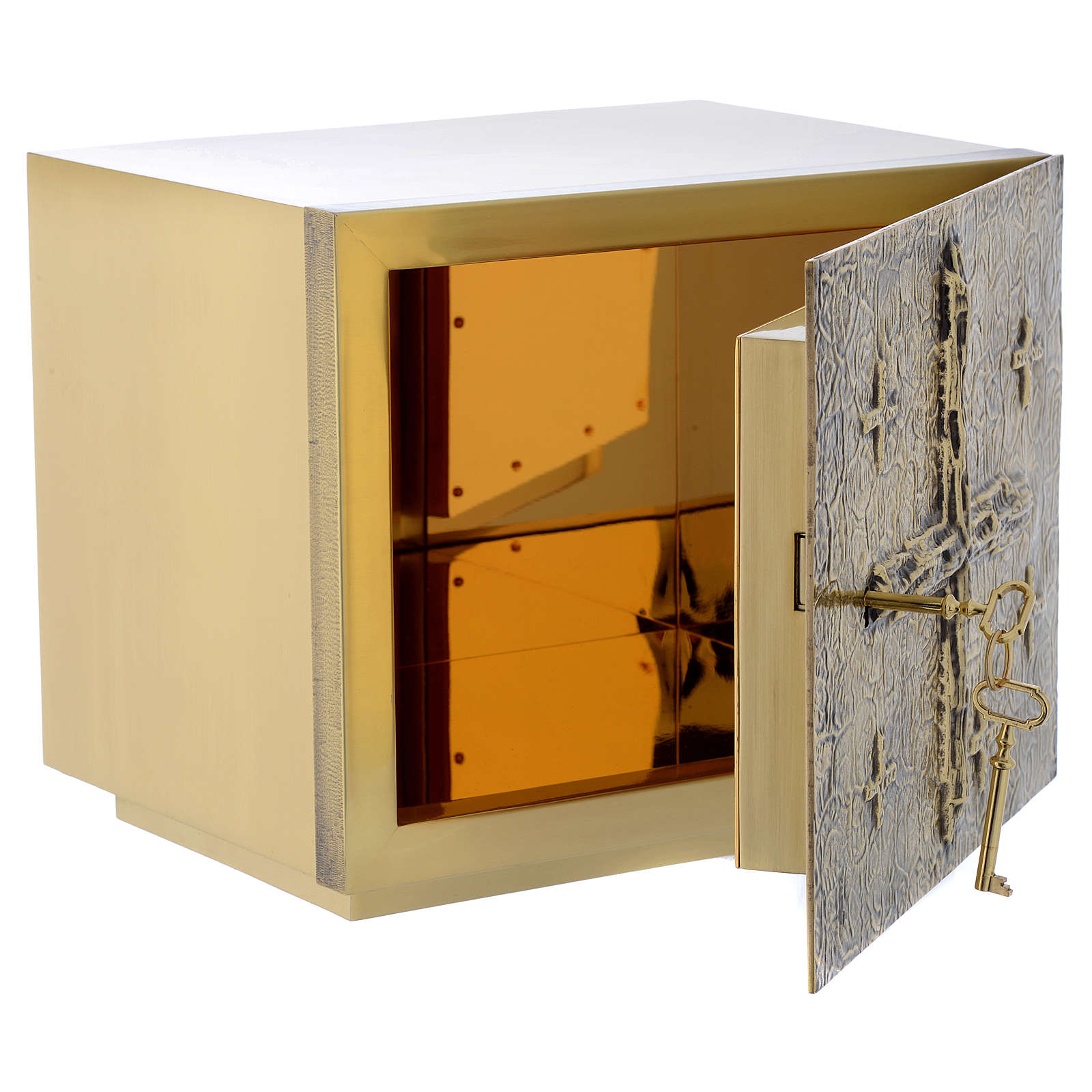 Altar Tabernacle with cross relief in gold plated brass, Molina 4