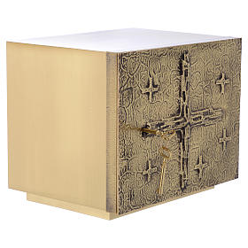Altar Tabernacle with cross relief in gold plated brass, Molina s4