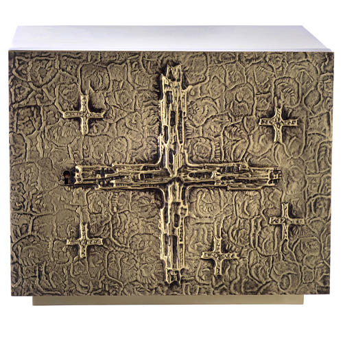 Altar Tabernacle with cross relief in gold plated brass, Molina 1
