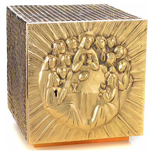 Altar Tabernacle in brass and resin with the last supper, Molina 5