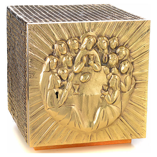 Altar Tabernacle in brass and resin with the last supper, Molina 1