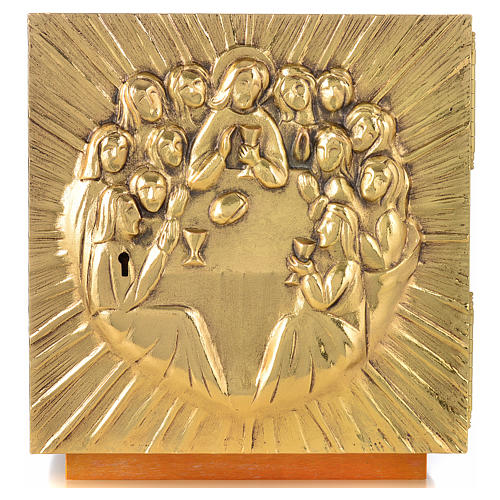 Altar Tabernacle in brass and resin with the last supper, Molina 8