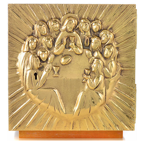 Altar Tabernacle in brass and resin with the last supper, Molina 4