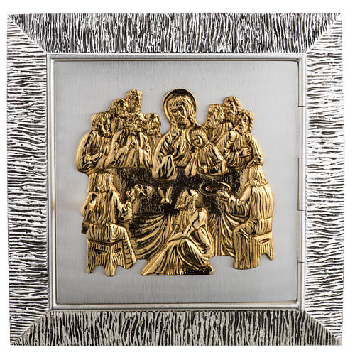 Wall Tabernacle with Last Supper in wood and cast brass 1