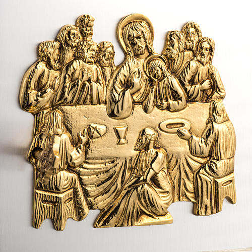 Wall Tabernacle with Last Supper in wood and cast brass 2