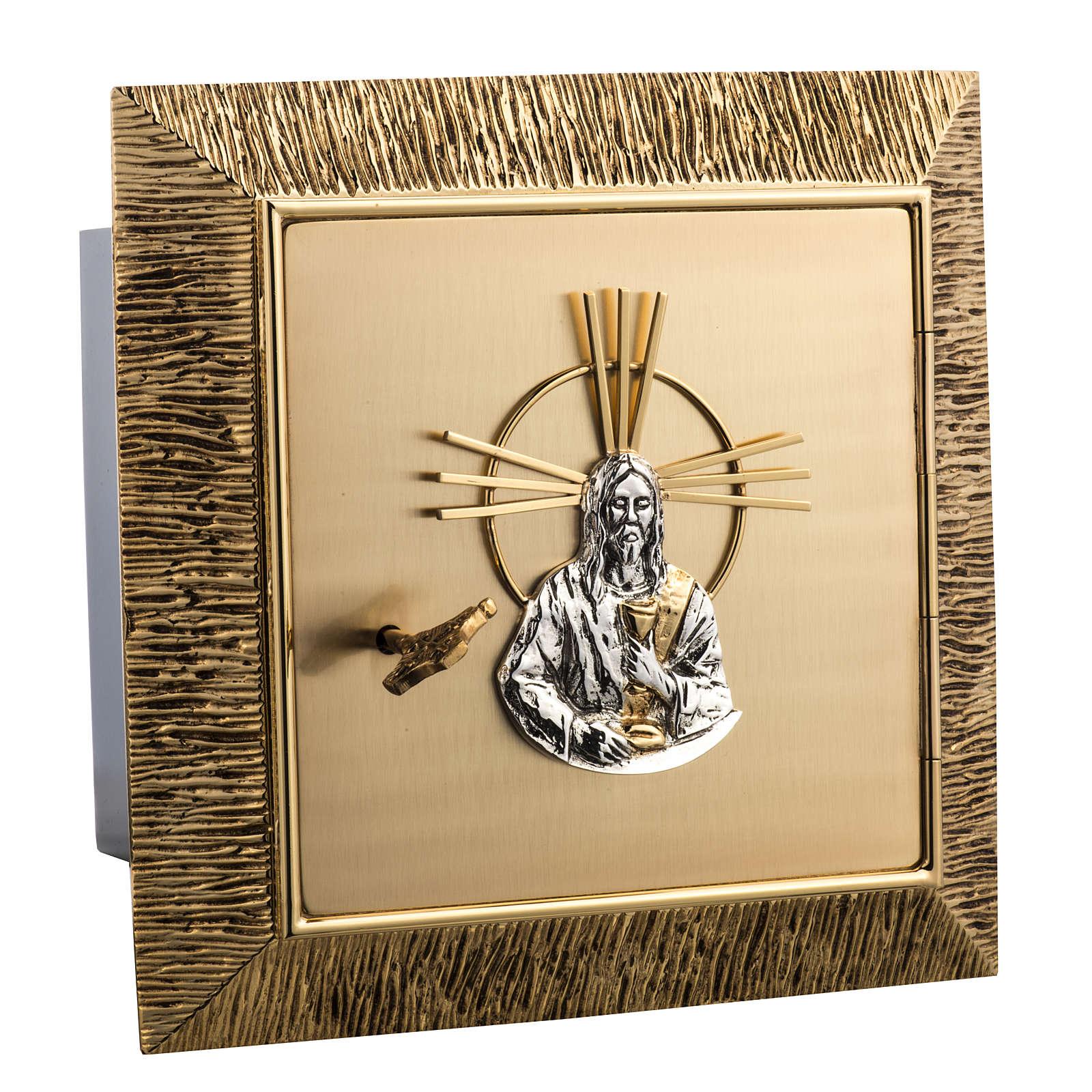 Tabernacolo da muro ottone dorato fuso Gesù 4
