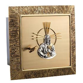 Tabernacolo da muro ottone dorato fuso Gesù s2