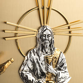 Tabernacolo da muro ottone dorato fuso Gesù s3