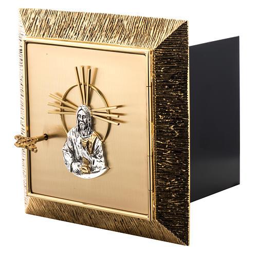 Tabernacolo da muro ottone dorato fuso Gesù 6