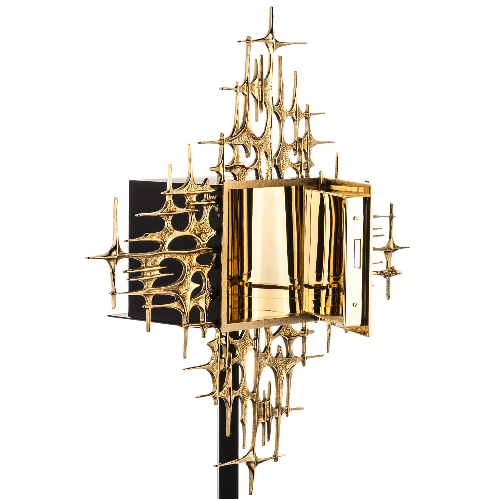 Wall Tabernacle with Supper at Emmaus in gold-plated cast brass 4