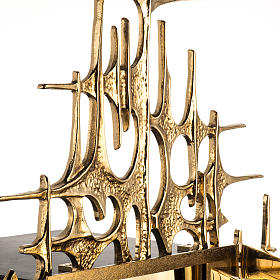 Wall Tabernacle with Supper at Emmaus in gold-plated cast brass s7