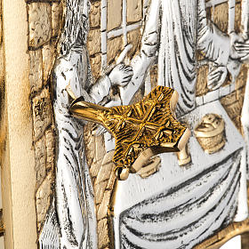 Wall Tabernacle with Supper at Emmaus in gold-plated cast brass s8