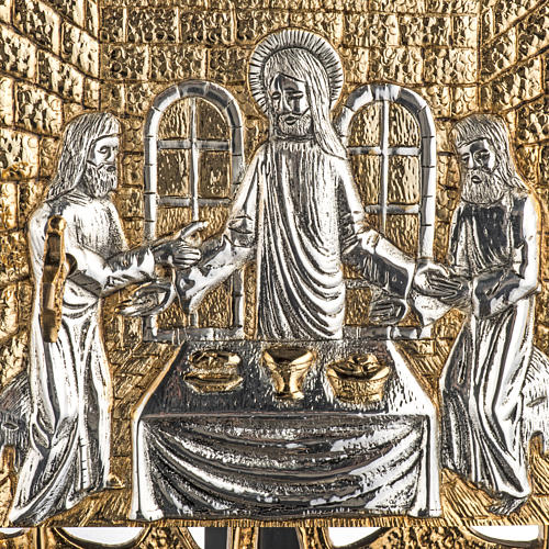 Wall Tabernacle with Supper at Emmaus in gold-plated cast brass 2