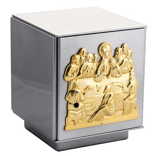 Tabernacolo da mensa Ultima Cena bronzo cassa ferro int. ottone 1