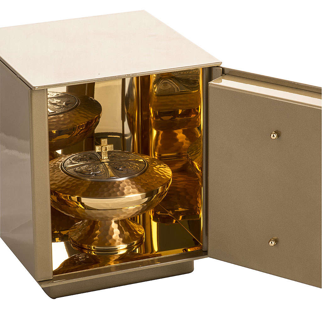 Altar Tabernacle with Last Supper in gold-plated bronze, iron box 4