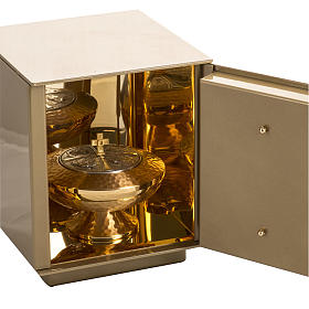 Altar Tabernacle with Last Supper in gold-plated bronze, iron box s4