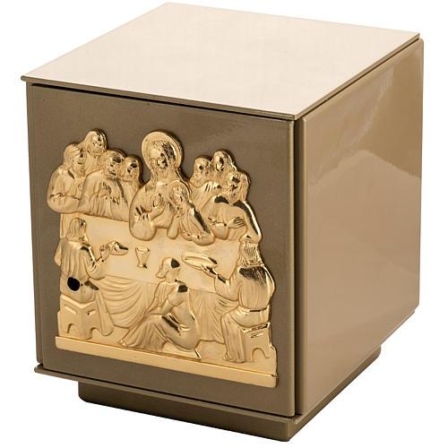 Sagrario de mesa Última Cena bronce dorado caja hierro 1
