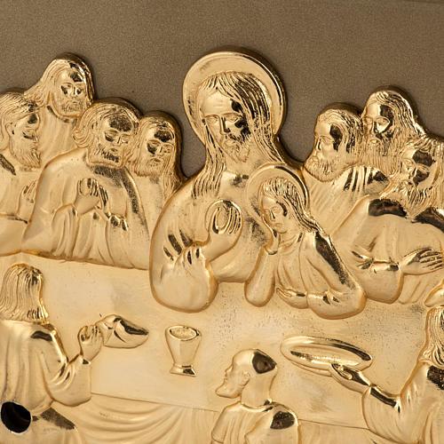 Sagrario de mesa Última Cena bronce dorado caja hierro 2