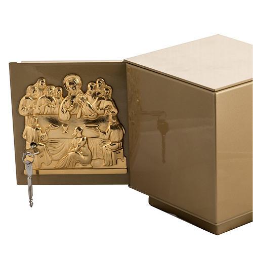 Sagrario de mesa Última Cena bronce dorado caja hierro 5