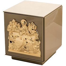 Tabernacolo da mensa Ultima Cena bronzo dorato cassa ferro s1