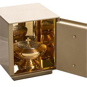 Tabernacolo da mensa Ultima Cena bronzo dorato cassa ferro s4