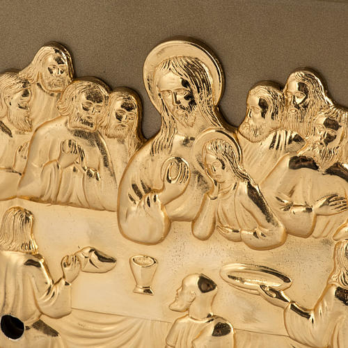 Altar Tabernacle with Last Supper in gold-plated bronze, iron box 2