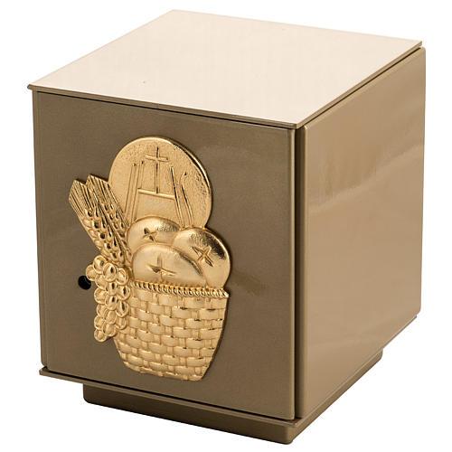 Tabernacolo da mensa Pane Spighe bronzo dorato cassa ferro 1