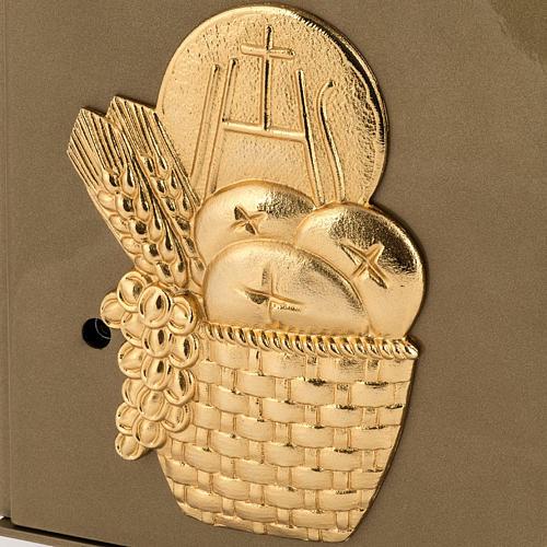 Tabernacolo da mensa Pane Spighe bronzo dorato cassa ferro 2