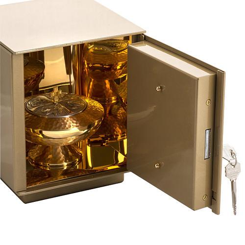 Tabernacolo da mensa Pane Spighe bronzo dorato cassa ferro 4