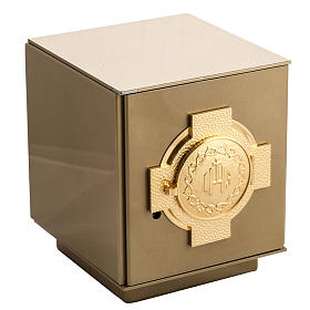Altar Tabernacle with cross and IHS in gold-plated bronze, iron box s1