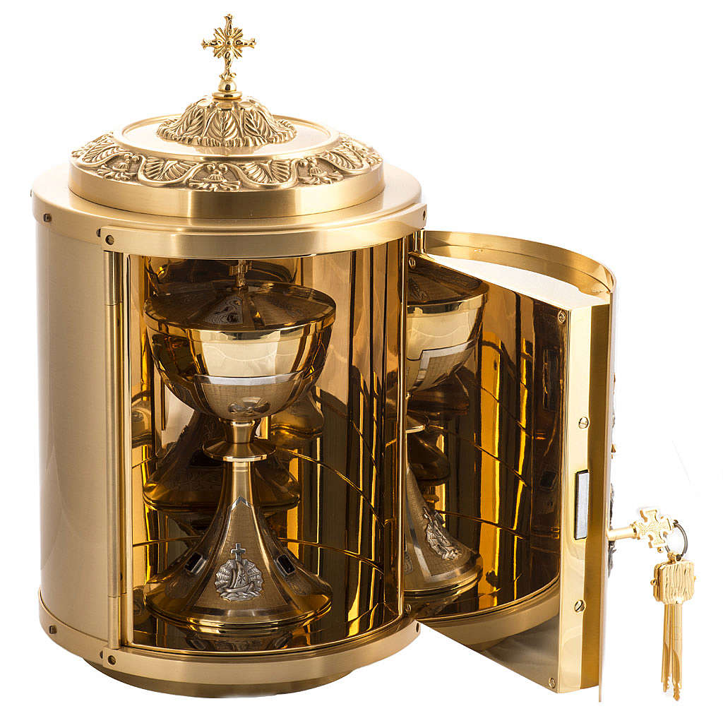 Altar Tabernacle in gold-plated brass with Lamb of God in bronze 4