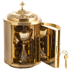 Altar Tabernacle in gold-plated brass with Lamb of God in bronze s3