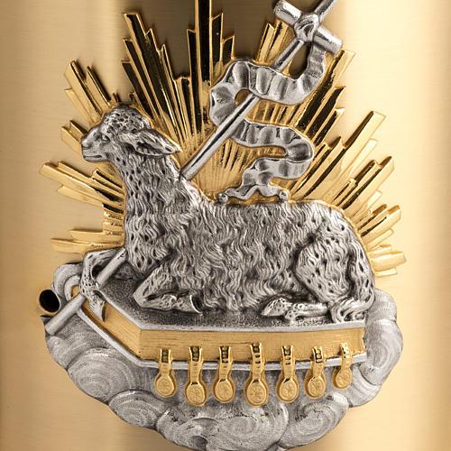 Tabernacolo da mensa ottone Agnello Immolato in bronzo 2