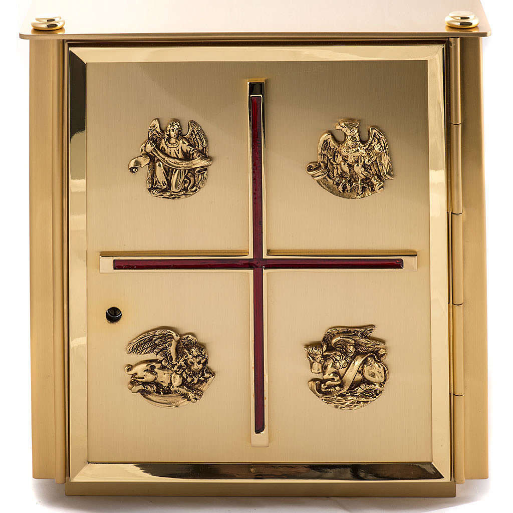 Altar Tabernacle in brass with Evangelists symbols 4