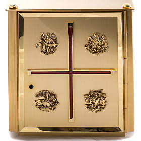 Altar Tabernacle in brass with Evangelists symbols s2