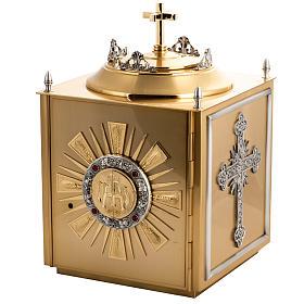 Tabernacolo da altare in ottone con finestrelle s1