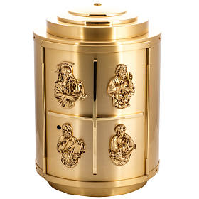 Tabernacles: Altar Tabernacle in brass with 4 Evangelists, rounded shape