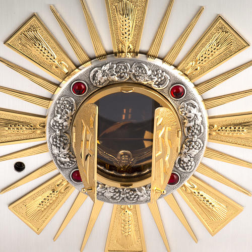 Altar Tabernacle in cast bronze with windows for adoration 3