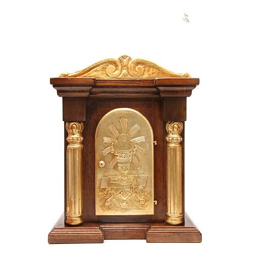 Tabernacle en bois avec chapiteau feuille or 70x45x30 1
