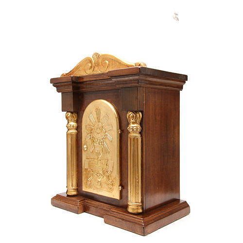 Tabernacle en bois avec chapiteau feuille or 70x45x30 2