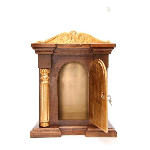 Tabernacle en bois avec chapiteau feuille or 70x45x30 5