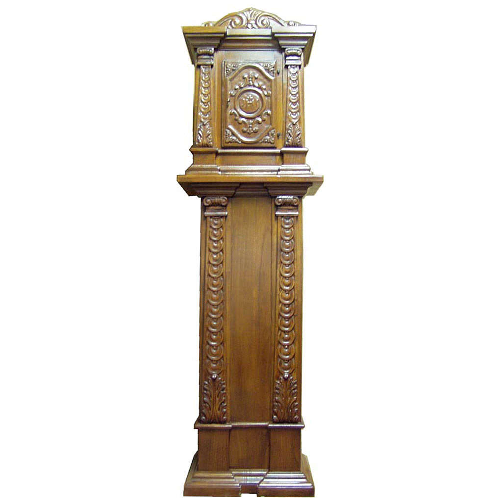 Tabernacle in carved wood with column 190x57x39cm 4