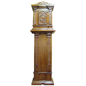 Tabernacle in carved wood with column 190x57x39cm s1