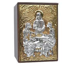 Tabernacle d'autel en bois et porte en laiton Souper à Emmaüs s1