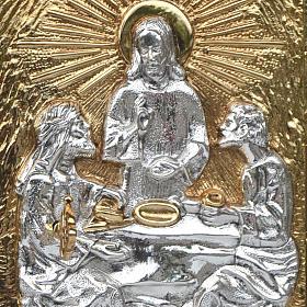 Tabernacle d'autel en bois et porte en laiton Souper à Emmaüs s2